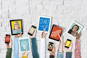 picture of growth  - Digital Devices Business Growth Success Startup Concept - JPG