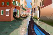 stock photo of gondola  - Gondola trip on small Venice canals - JPG