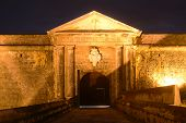 image of el morro castle  - Castillo San Felipe del Morro El Morro Main Gate at night, San Juan, Puerto Rico.
