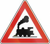 foto of railroad-sign  - Argentinian sign indicating an unmanned railway crossing - JPG