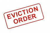 picture of eviction  - The words EVICTION ORDER stamped in red on white background - JPG
