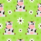 pic of cows  - Farm Seamless background cartoon with funny happy cow - JPG