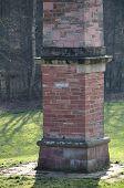 pic of obelisk  - Freestone obelisk in the former palace garden of the long abandoned hunting lodge Sommerschloss Blumenstein - JPG