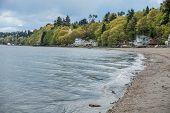 picture of dash  - Small waves ripple toward shore at Dash Point Washington - JPG
