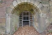 picture of dungeon  - HDR of the closed entrance of a dungeon - JPG