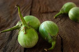 stock photo of south east asia  - Solanum Aculeatissimum or round green eggplant usually easy to find in South east Asia - JPG