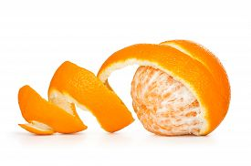 image of mandarin orange  - orange peeled skin on a white background - JPG