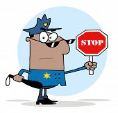 picture of sherif  - Black Police Officer Holding A Stop Sign And Club - JPG