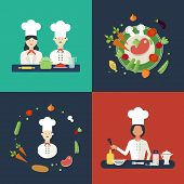 Постер, плакат: Flat design concept icons of kitchen utensils with a chefs Cooking tools and kitchenware equipment