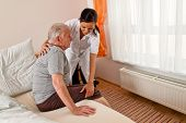 picture of nursing  - a nurse in aged care for the elderly in nursing homes - JPG