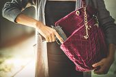 Woman Pulls A Gun From Her Swanky Purse. Conceal Carry Weapon For Protection Themselves Concept. Sel poster