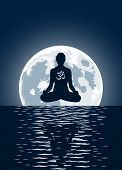 image of ohm  - Vector yoga with ohm symbol over moon background - JPG