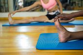 Two fit women doing stretching exercise on mat in fitness studio poster