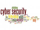 Concept or conceptual cyber security access technology abstract word cloud isolated background. Coll poster