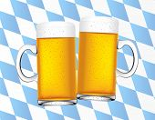 picture of beer mug  - vector illustration of cheers with two beers with bavarian flag - JPG