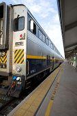 stock photo of amtrak  - Rear of Amtrak California passenger train at the Bakersfield station - JPG