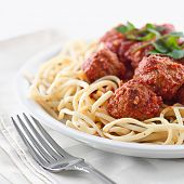 image of italian food  - spaghetti and meat balls - JPG