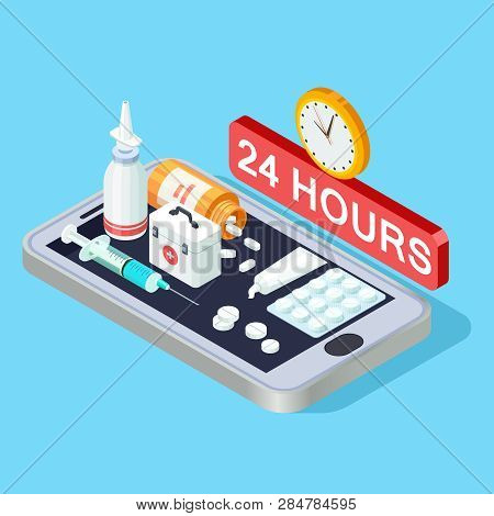 Online Pharmacy Isometric Concept 24