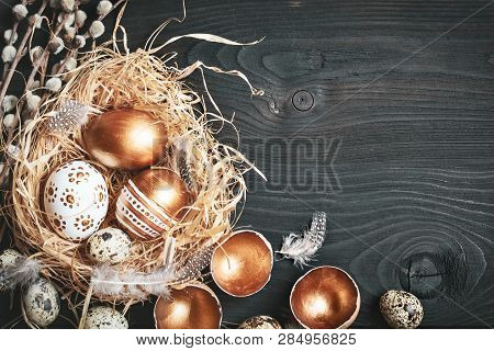 poster of Happy Easter. Congratulatory Easter Background. Easter Eggs And Flowers. Background With Copy Space.