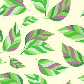 Seamless Background With Striped Bright Leaves On Pastel Background.simple Leaf Texture, Endless Fol poster