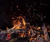 Flaming Logs, fire flames with sparks flying in the air, close-up. poster