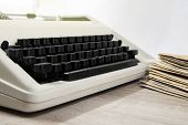 Typewriter Antique Vintage Style With Old Documents Or Old Letter For Writer On Wooden Desk Zoom In poster