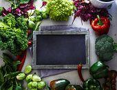Fresh Vegetables Flatlay Overhead Frame.blackboard With Vegetables.. Food Layout. Diet. Dieting Plan poster