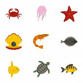 Underwater Animal Stickers Icons Set. Flat Set Of 9 Underwater Animal Stickers Icons For Web Isolate poster