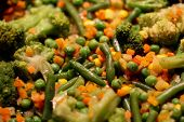 Mexican Mix. Vegetables Are Fried In A Sizzling Frying Pan: Broccoli, Corn, Peas poster