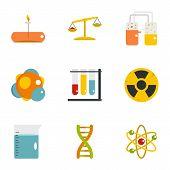 Chemical Laboratory Icon Set. Flat Style Set Of 9 Chemical Laboratory Icons For Web Isolated On Whit poster