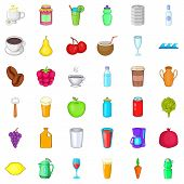 Tasty Drink Icons Set. Cartoon Style Of 36 Tasty Drink Icons For Web Isolated On White Background poster
