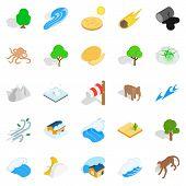 Land Icons Set. Isometric Set Of 25 Land Icons For Web Isolated On White Background poster