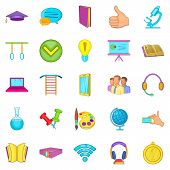 Excellent Pupil Icons Set. Cartoon Set Of 25 Excellent Pupil Icons For Web Isolated On White Backgro poster