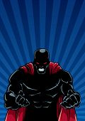 Silhouette Illustration Of Raging Superhero On Abstract Background With Ray Light.  .... poster