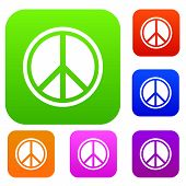 Sign Hippie Peace Set Icon In Different Colors Isolated Illustration. Premium Collection poster