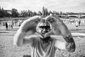 Hipster Happy Celebrate Event Picnic Fest Or Festival. Cheerful Fan Love Summer Fest. Man Bearded Hi poster
