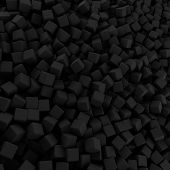 Black Abstract Heap Of Cubes Backdrop. Contrast 3d Rendering Geometric Polygons, As Rough Wall. Inte poster