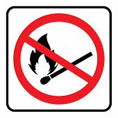 No Match,no Fire Flame Icon Sign Logo Template In White Background Drawing By Illustration.prohibiti poster