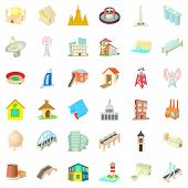Tall Building Icons Set. Cartoon Style Of 36 Tall Building Icons For Web Isolated On White Backgroun poster