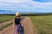 Tween Tourist Girl In Hat And Backpack Walking On Country Road Alone And Admiring Picturesque Landsc poster