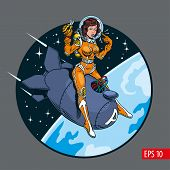 A Vintage Comic Style Sexy Pin-up Girl In Space Suit And Helmet Riding A Big Atomic Bomb. Vector Ill poster
