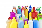 Household Chemicals. Multicolored Bottles With Household Chemicals. poster