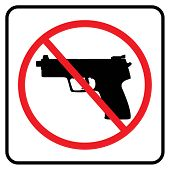 No Weapon Sign.no Gun Symbol In White Background Drawing By Illustration- Prohibition Sign poster