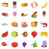 Fruit Dessert Icons Set. Cartoon Set Of 25 Fruit Dessert Icons For Web Isolated On White Background poster
