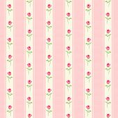 Cute Seamless Shabby Chic Pattern With Roses And Stripes poster