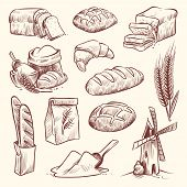 Bread Sketch. Flour Mill Baguette French Bake Bun Food Wheat Traditional Bakery Basket Grain Pastry  poster