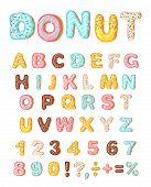 Donut Icing Latters, Font Of Donuts. Bakery Sweet Alphabet. Letters And Numbers. Donut Alphabet And  poster