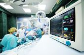 A Group Of Surgeons Operate On The Patients Vital Functions Monitor Close-up. poster