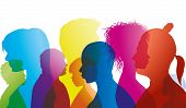 Silhouette Profiles Of Multiracial People Of Different Ages. Group Of People Different Nationalities poster