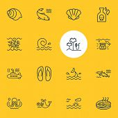 Illustration Of 16 Nautical Icons Line Style. Editable Set Of Cod Fish, Fish Steak, Cetacean And Oth poster